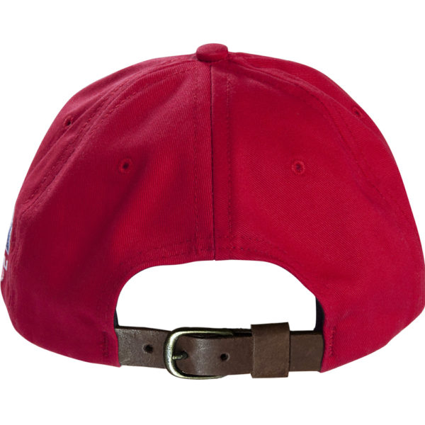 Red Baseball Cap With Leather Strap - PROUD TO BUY AMERICAN 8ca79845df0